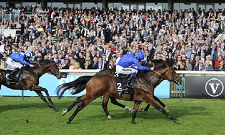 Charming Thought wins the G1 Middle Park Stakes at Newmarket